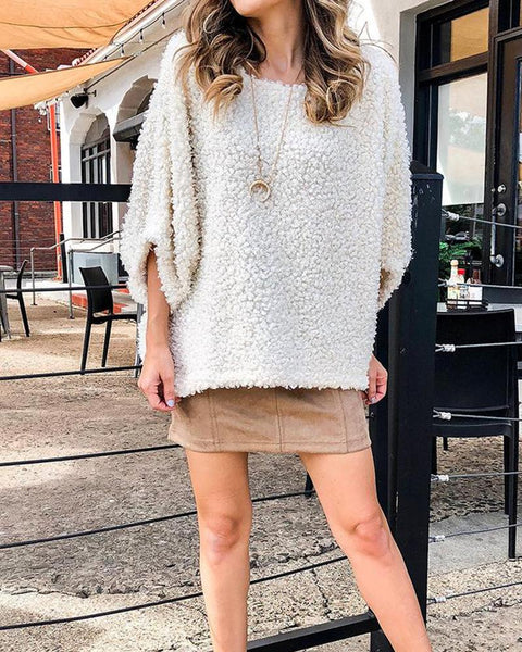 Three Quarters Sleeve Furry Pullover Sweater