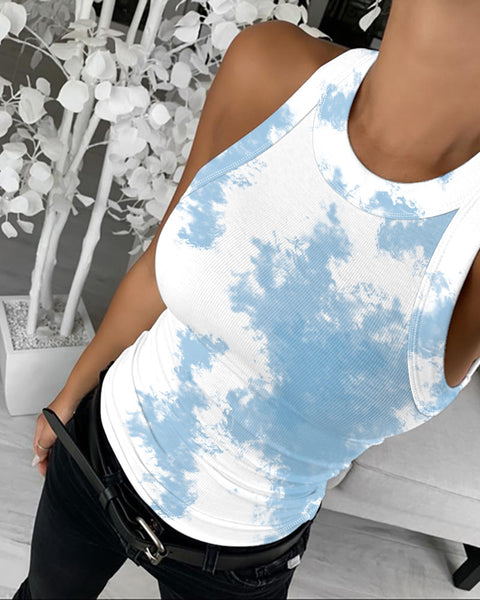 Tie Dye Print Round Neck Top