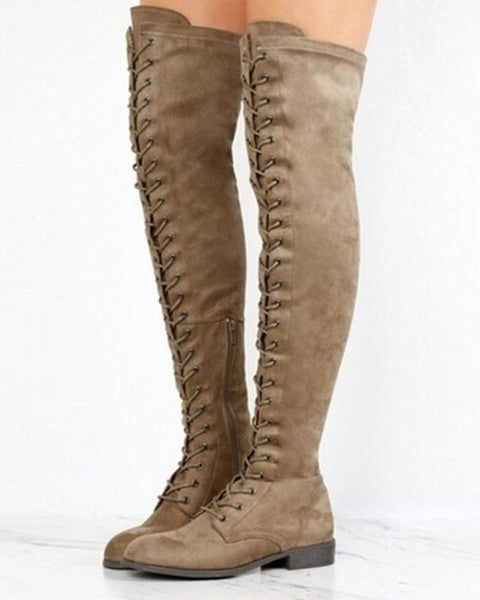 Solid Lace-Up Long Boots