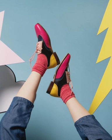 Colorblock Round Toes Oxford Shoes