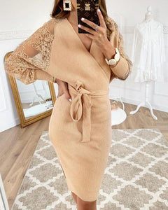 Lace Sleeve Tie Waist Cocktail Dress