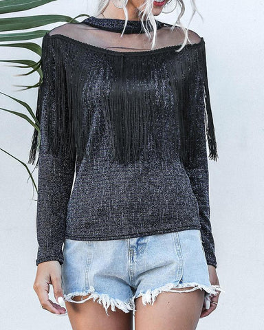 Round Neck Mesh Insert Sequin Top