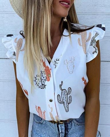 Cactus Print Flutter Sleeve Casual Top