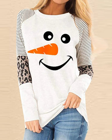 Christmas Snowman Cheetah Print Colorblock  Casual Sweatshirt