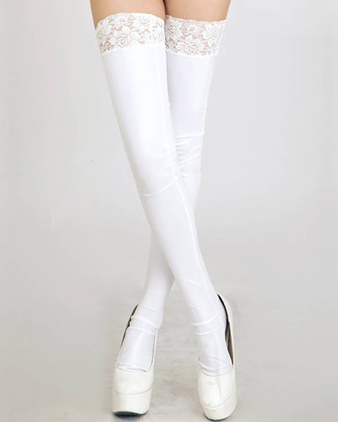 Lace Trim Thigh Length Stokings