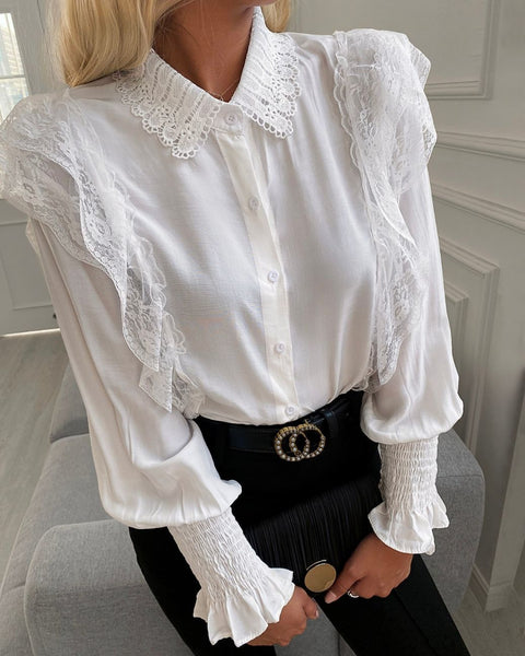 Crochet Lace Shirring Detail Bell Sleeve Shirt