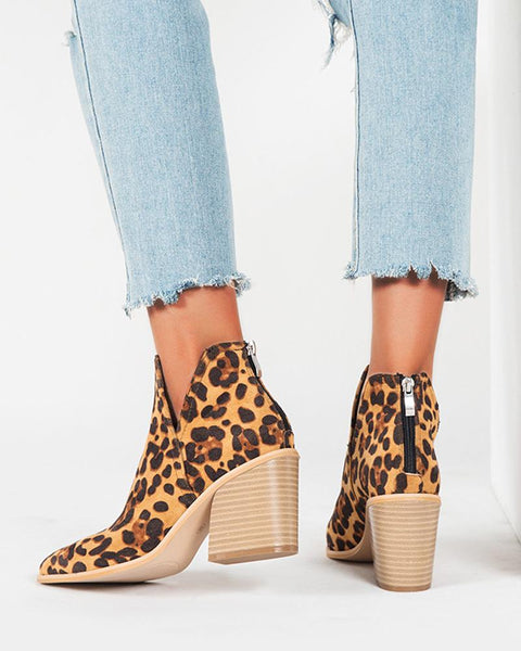 Leopard Cut-out Pointed-toe Block Heel Ankle Boots