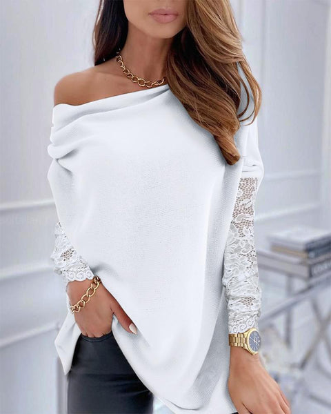 One Shoulder Long Sleeve Lace Top