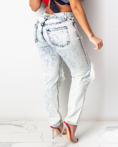 Colorblock Paisley Print Ripped Denim Pants