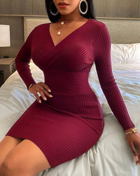 Plain Long Sleeve Knit Wrap Bodycon Dress