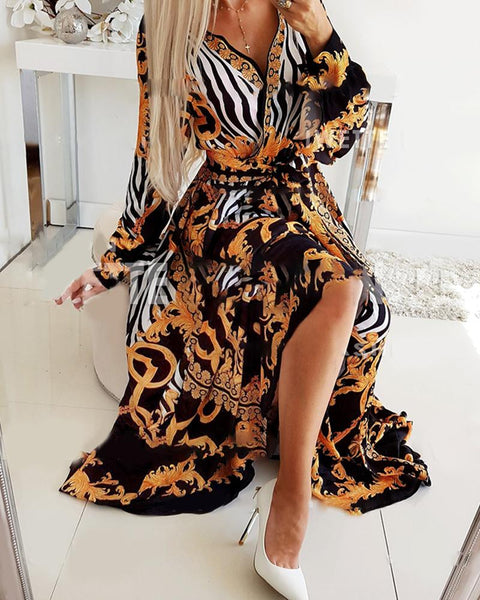 Retro Print High Slit Wrap Maxi Dress