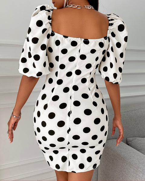 Polka Dot Puff Sleeve Ruched Bodycon Dress
