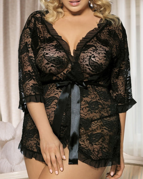 Plus Size Sheer Mesh Paisley Lace Robe With Thong