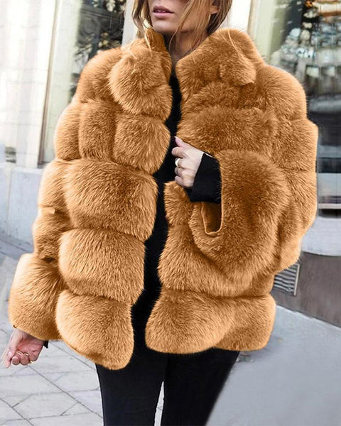 Solid Faux Fur Long Sleeve Coats