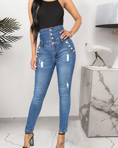 High Waist Button Design Skinny Ripped Jeans