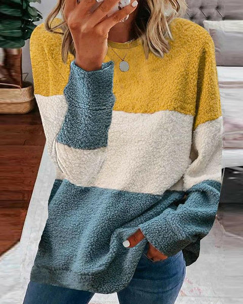 Color Block Long Sleeve Loose Teddies Sweatshirt
