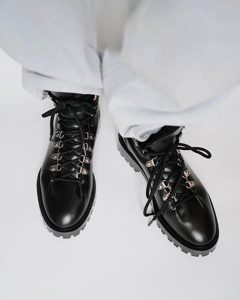 Solid Round-toe Lace-up Patent Leather Boots