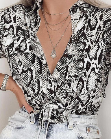 Snakeskin Print Long Sleeve Knot Blouse
