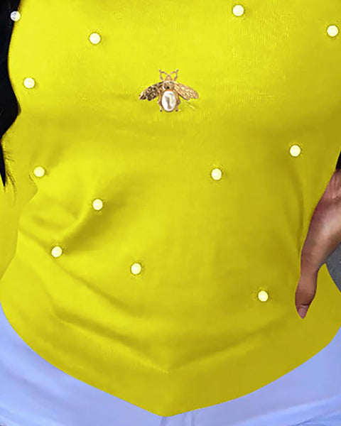 Solid Beaded Bees Design Casual Blouse