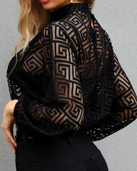 G-inspired Keyhole Front Mesh Blouse