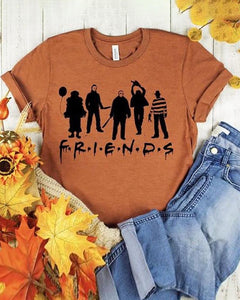 Halloween Letter Figure Print Short Sleeve T-Shirt