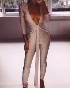 Deep V Tie Waist Sequined Jumpsuit