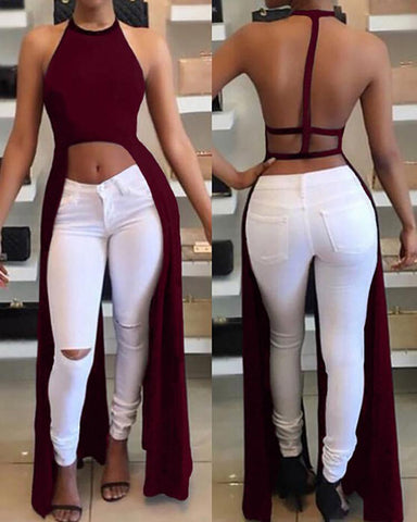 Halter Open Back Slit Top