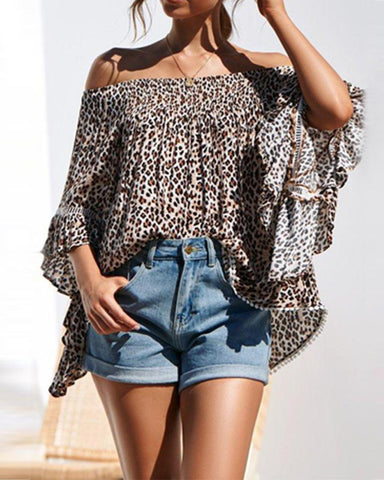 Off Shoulder Leopard Print Trumpet Sleeve Casual Blouse