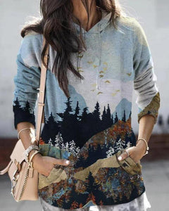 Scenery Print Long Sleeve Loose Sweatshirts