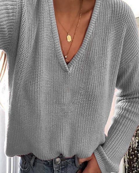 Solid Plunge Long Sleeve Knit Sweater