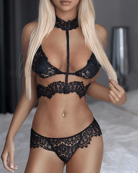 Solid Strap Lace Patchwork Lace-up Bra With Panties Sexy Sets
