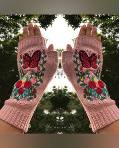 Butterflies Floral Embroidery Thermal Knitting Open-fingers Gloves