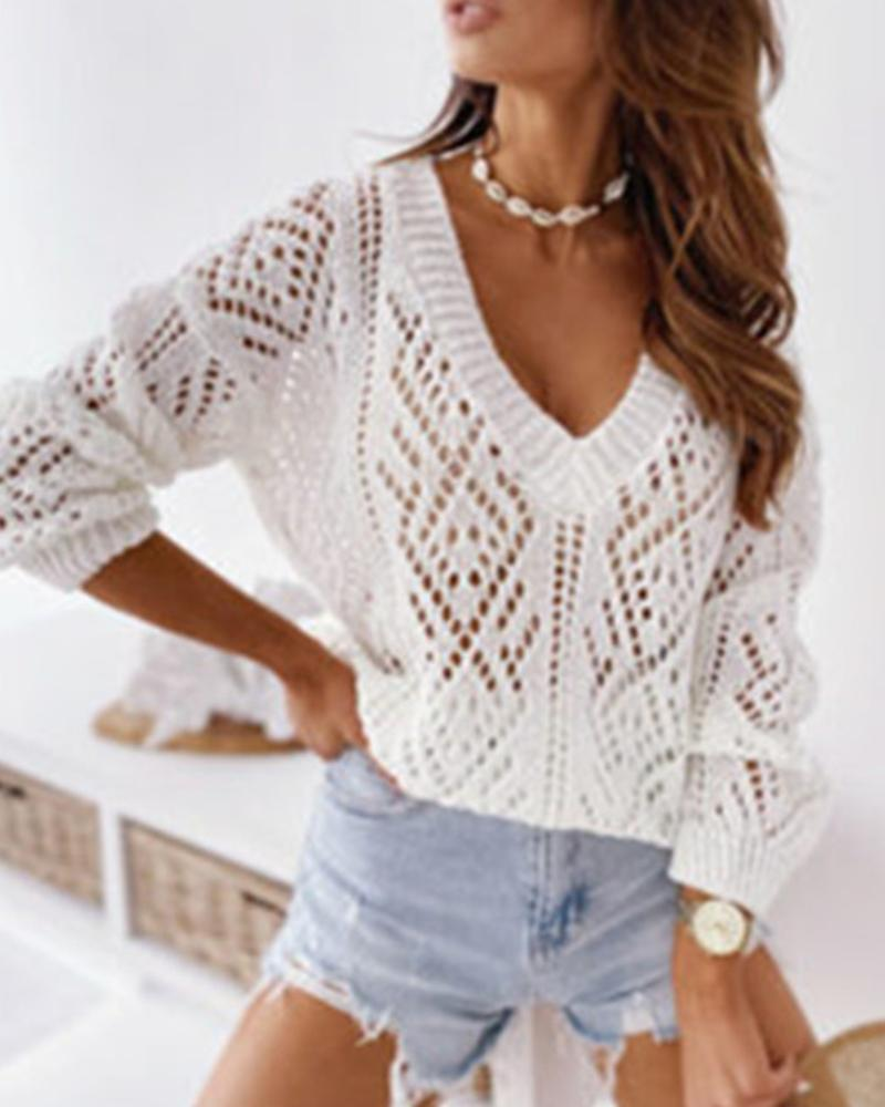 Solid Color Hollow Long Sleeve Sweater