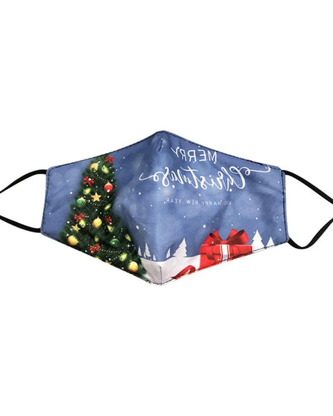 Christmas Letter Tree Print Breathable Face Mask