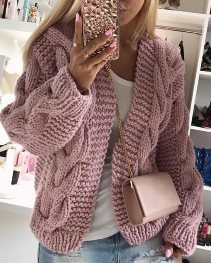 Braided Long Sleeve Knit Cardigan