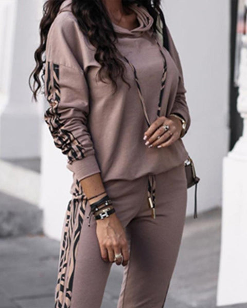 Camouflage Border Long Sleeve Hoodies Suit Sets