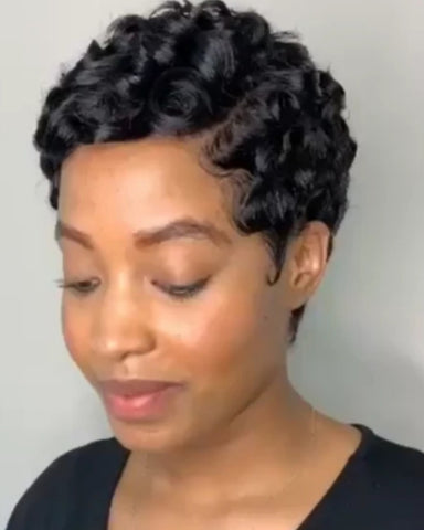 Synthetic Wig Curly Afro Curly Pixie Cut With Bangs Wig Short Brown Black Synthetic Hair