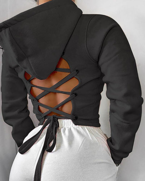 Lace-up Backless Hooded Crop Top