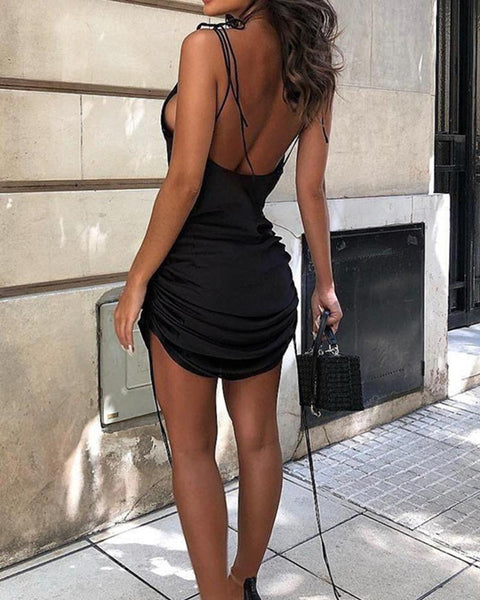 Solid Strappy Ruched Mini Party Dress