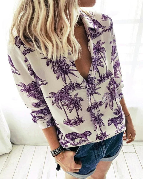 Coconut Tree Long Sleeve Blouse