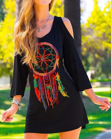 Vintage Printing Long Sleeve Dress