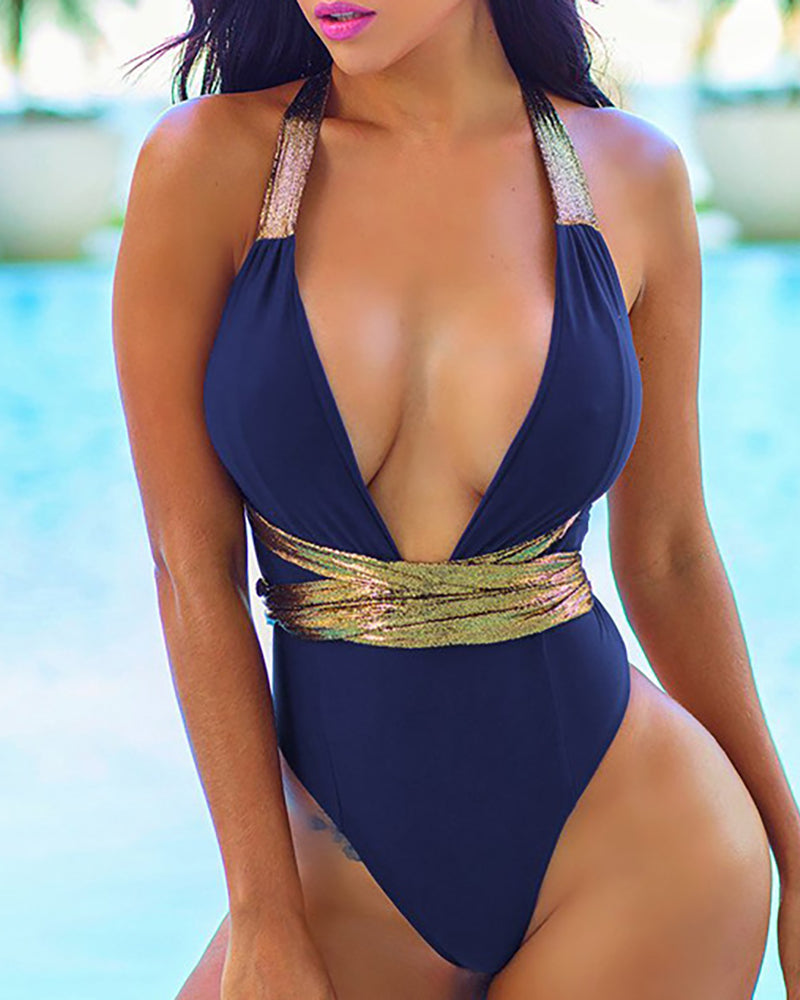 Colorblock Crisscross Backless One Piece Swimsuit