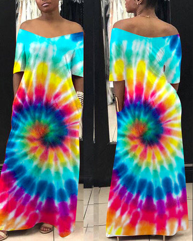 Colorful Tie Dye Print Short Sleeve Maxi Dress