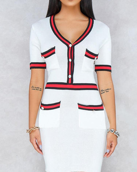 Contrast Binding Striped Tape Mini Dress