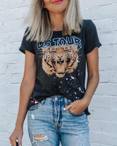 Tiger Head Print T-Shirt