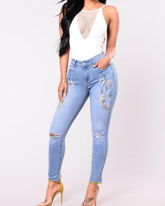 Embroidered Holey High Waist Skinny Jeans