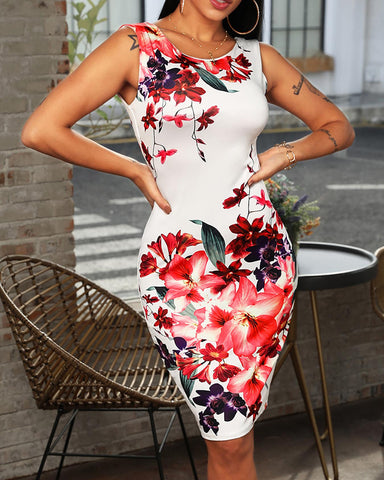 Floral Print Sleeveless Casual Dress