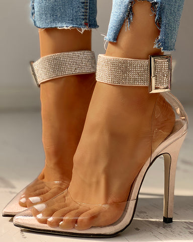 Sequins Buckled Transparent Thin Heeled Sandals