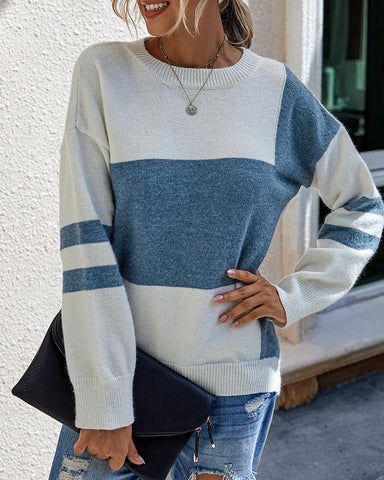 Colorblock Long Sleeve Casual Sweaters