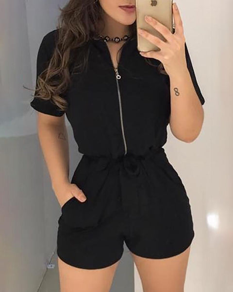 Short Sleeve Zipper Design Romper